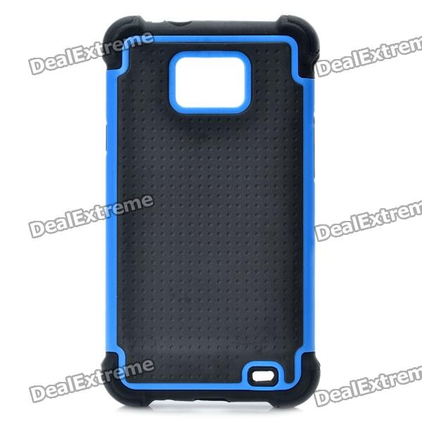 Protective Plastic Rubber Case for Samsung i9100 - Blue + Black