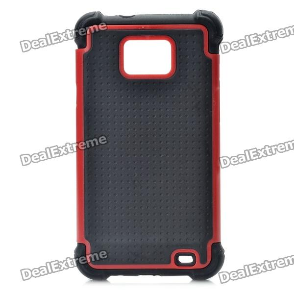 Protective Plastic Rubber Case for Samsung i9100 - Deep Red + Black