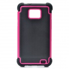 Protective Plastic Rubber Case for Samsung i9100 - Rosy + Black