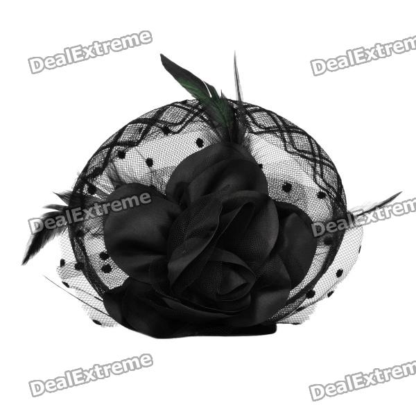 2-in-1 Bliss Flower Hairpin & Brooch Pin - Black (16cm-Diameter)