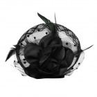 2-in-1 Bliss Flower Hairpin &amp; Brooch Pin - Black (16cm-Diameter)