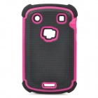 Protective Plastic Rubber Case for Blackberry 9900 - Rosy + Black