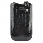 Crocodile Pattern Protective PU Leather Pouch Case for HTC One X - Black