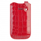 Crocodile Pattern Protective PU Leather Pouch Case for HTC One X - Wine Red