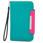 KALAIDENG Protective PU Leather Flip-Open Case for Samsung i9220 - Green + Deep Pink