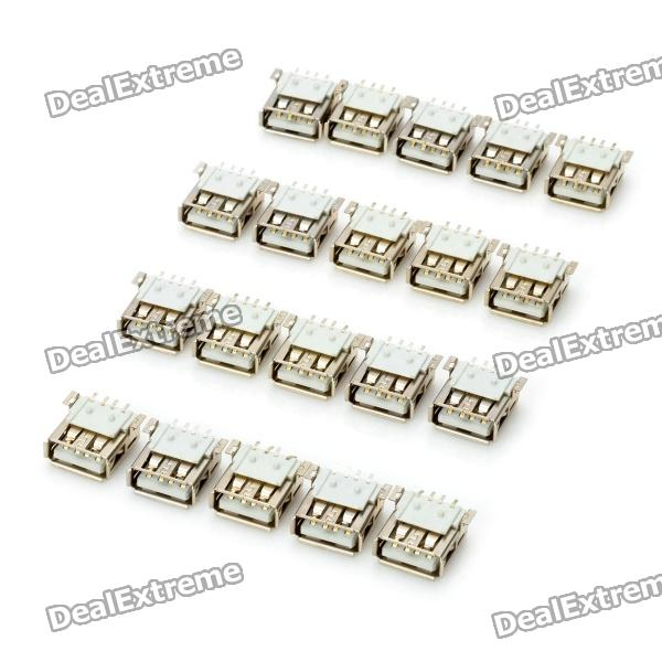 DIY USB-A 4-Pin Female Connector Socket - Silver (20-Piece Pack) diy usb a 4 pin female connector socket silver 20 piece pack