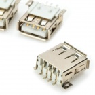 DIY USB-A 4-Pin Hembra Connector Casquillo - Plata (20-pieza Pack)