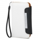 KALAIDENG Protective PU Leather Flip-Open Case for Iphone 4 / 4S - White + Black
