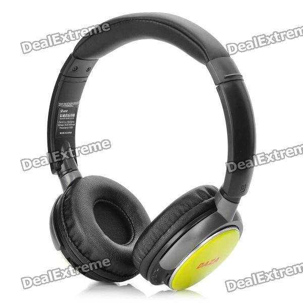 Stylish Sports Rechargeable MP3 Music Player Headset w/ FM / TF - Yellow (3.5mm Jack)