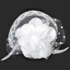 Decorative Flower Hairpin & Brooch Pin - White (16cm-Diameter)
