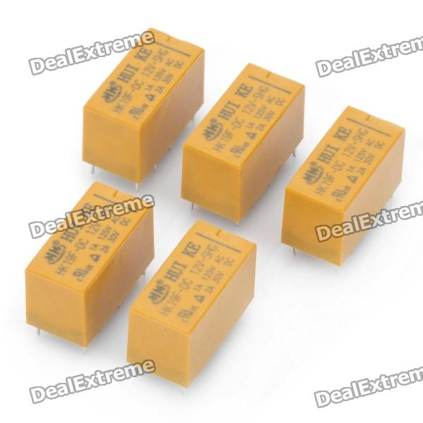DIP Type HK19F-DC12V-SHG 8-Pin Power Relay - Yellow (5-Piece) diy power relay for communication security yellow 5 piece pack