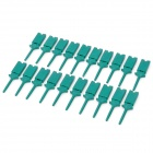 Plastic Multimeter Flat Test Hook Clip Grabbers for PCB SMD IC - Green (20-Piece)
