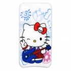 Hello Kitty Pattern Multicolored LED Plastic Back Case for iPhone 4 / 4S - White