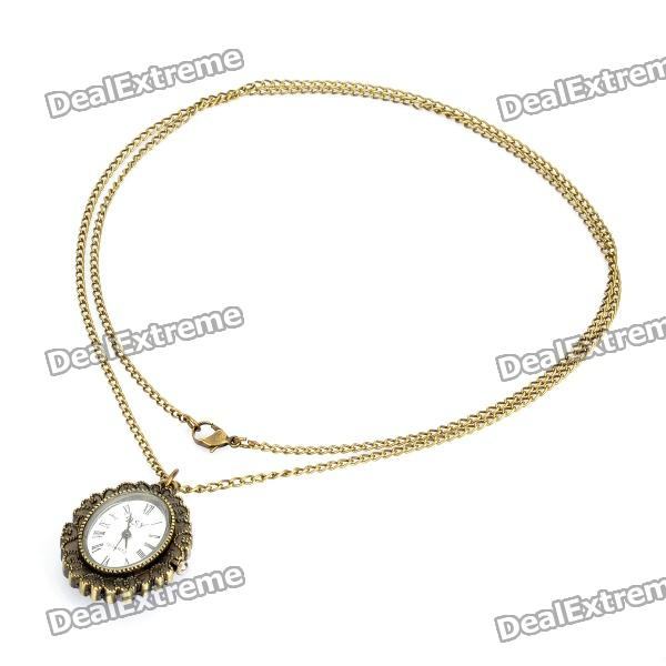 Vintage Retro Stone Carving Rose Style Quartz Pocket Watch - Bronze (1 x 377s / 80cm) 4 design bronze vintage quartz pocket watch free mason sword art online gear necklace pendant chain womens mens gifts p1123