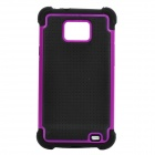 Detachable Protective Silicone Back Case w/ Plastic Cover for Samsung i9100 - Black + Purple