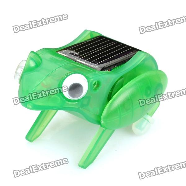 Funny solar powered jumping frog - green