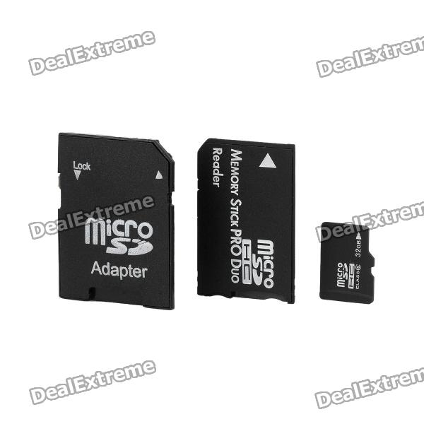 Micro SD / TF Card w/ SD / MS Adapter - Black (32GB) tt tf ths 02b hybrid style black ver convoy asia exclusive