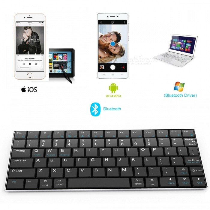 Bluetooth V3.0 84-Key Wireless Keyboard - Black