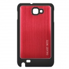 Wiredrawing Aluminum Alloy Protective Back Case for Samsung Galaxy NOTE / i9220 - Red + Black