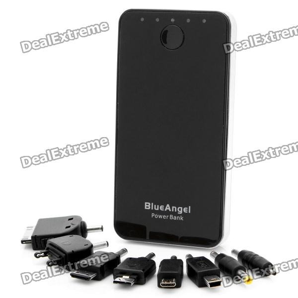 5200mAh Dual USB Mobile Power Battery Pack mit 8 Adapter - Schwarz