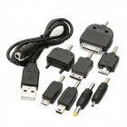 5200mAh Dual USB Mobile Power Battery Pack with 8 Adapters - Black