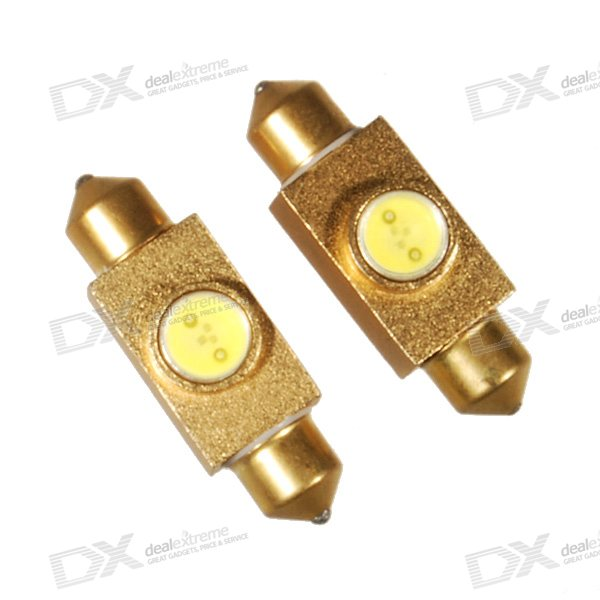 #39 1.5W T10 Car Festoon 75-Lumen White LED - Aluminum Shell (DC 12V) 2-Pack