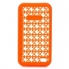 Protective Volvo Logo Mesh Silicone Back Case w/ PC Frame for iPhone 4 / 4S - Orange