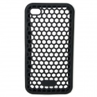 Protective Honeycomb Mesh Silicone Back Case w/ Plastic Bumper Frame for iPhone 4 / 4S - Black