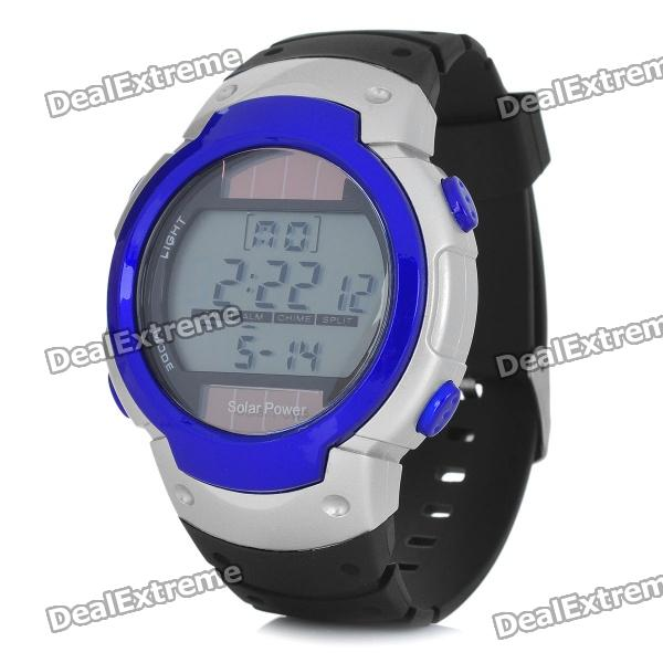 Sports Solar Powered Silicone Band Wrist Watch w/ Backlight - Silver + Blue (CR2025)