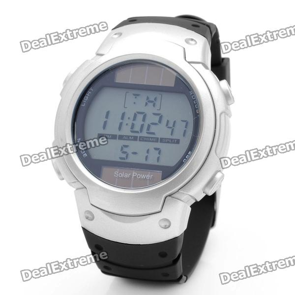 Solar Powered Sports Wrist Watch w/ Date / Week Display / Alarm Clock / Stopwatch - Silver + Black plus size ribbed longline hooded cardigan