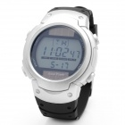 Solar Powered Sports Wrist Watch w/ Date / Week Display / Alarm Clock / Stopwatch - Silver + Black