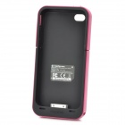 Compact 2000mAh External Emergency Power Battery Back Case for iPhone 4/4S - Black + Magenta