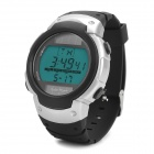 Solar Powered Sports Wrist Watch w/ Blue EL Backlit / Stopwatch / Alarm Clock - Silver (1 x CR2025)