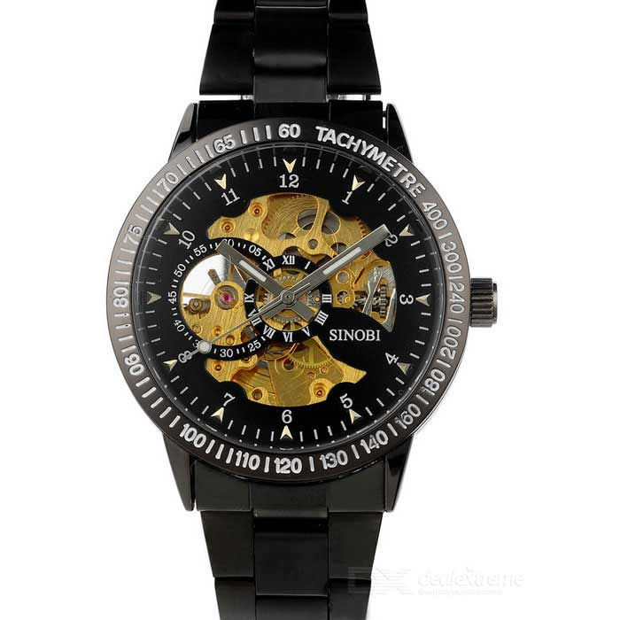 SINOBI Stainless Steel Self-Winding Mechanical Skeleton Wrist Watch - Black + Golden