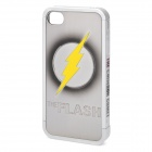 Cool The Flash Pattern Protective Plastic Back Case for iPhone 4 / 4S - Silver + Yellow