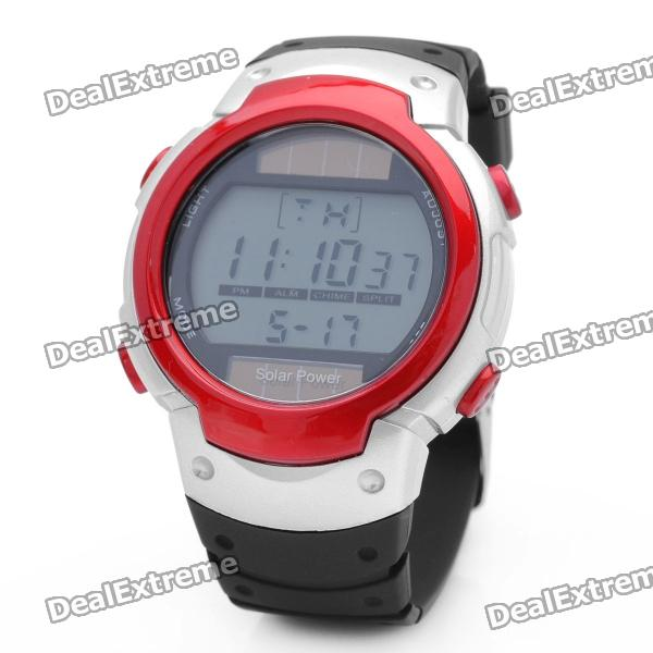 Solar Powered Sports Wrist Watch w/ Date / Week Display / Alarm Clock / Stopwatch - Red + Silver