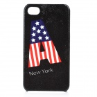 "US National Flag ""A"" Pattern PU Leather Cover Plastic Back Case for Iphone 4 / 4S - Black"