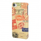 Postmark Pattern PU Cover Plastic Back Case for Iphone 4 / 4S - Yellow