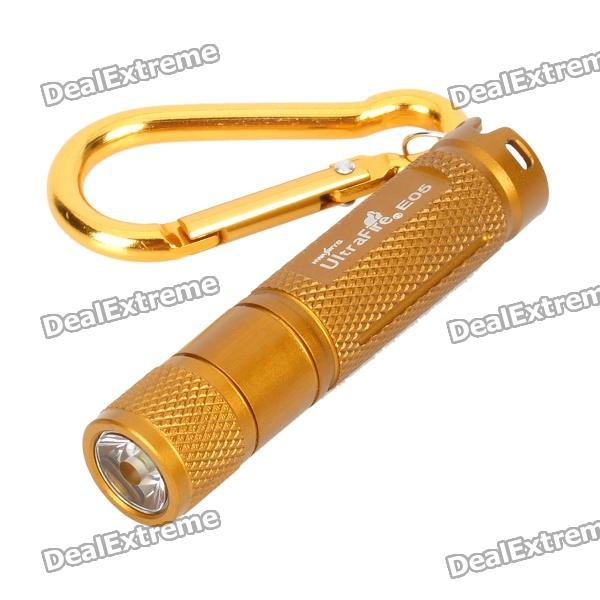 UltraFire E05 150LM 1-Mode White Flashlight - Golden (1 x AAA) - DXAAA Flashlights<br>Brand UltraFire Model E05 Quantity 1 Color Golden Material Aluminum alloy Emitter Brand CREE Number of Emitters 1 Color BIN White Emitter Type XP-G Emitter BIN R5 Voltage Input 1.5 V Battery Configuration 1 x AAA (included) Circuitry 600mA Brightness 150 lm Runtime 1~2 hours Number of Modes 1 Mode Arrangement Steady on Mode Memory N/A Switch Type Swivel switch Switch Location Head Lens Plastic Reflector No Strap Included No Clip Included No Packing List 1 x Flashlight 1 x Carabiner clip 1 x AAA battery<br>