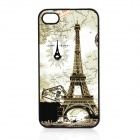 Eiffel Tower Pattern Protective Plastic Case for Iphone 4 / 4S - Light Yellow + Black