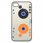 Cool Cassette Style Protective PC Back Case for Iphone 4 / 4S - White + Black + Orange