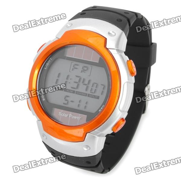 где купить Solar Powered Sports Wrist Watch w/ Blue EL Backlit / Stopwatch / Alarm - Orange + Black (1xCR2025) по лучшей цене