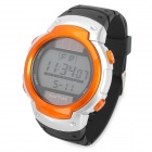Solar Powered Sports Wrist Watch w/ Blue EL Backlit / Stopwatch / Alarm - Orange + Black (1xCR2025)