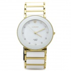 Fashion CrystalCeramic Quartz Wrist Watch - White + Golden (1 x 377)