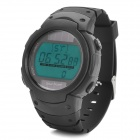 Solar Powered Sports Wrist Watch w/ Blue EL Backlit / Stopwatch / Alarm Clock - Black (1 x CR2025)