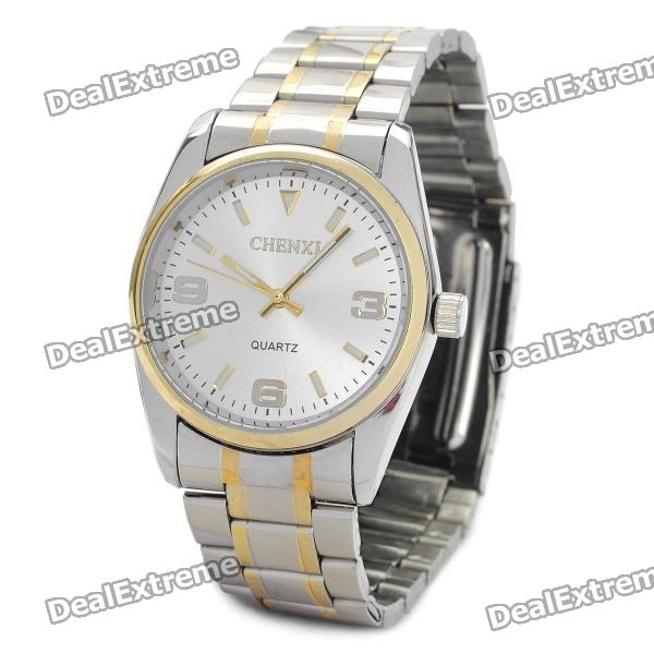 CX-003G Steel Band Quartz Wrist Watch - Silver + Golden (1 x 377) stylish bracelet band quartz wrist watch golden silver 1 x 377