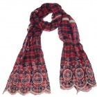 Ms. Bohemian Cotton Embroidered Lace Scarf - Deep Red (60 x 200cm)