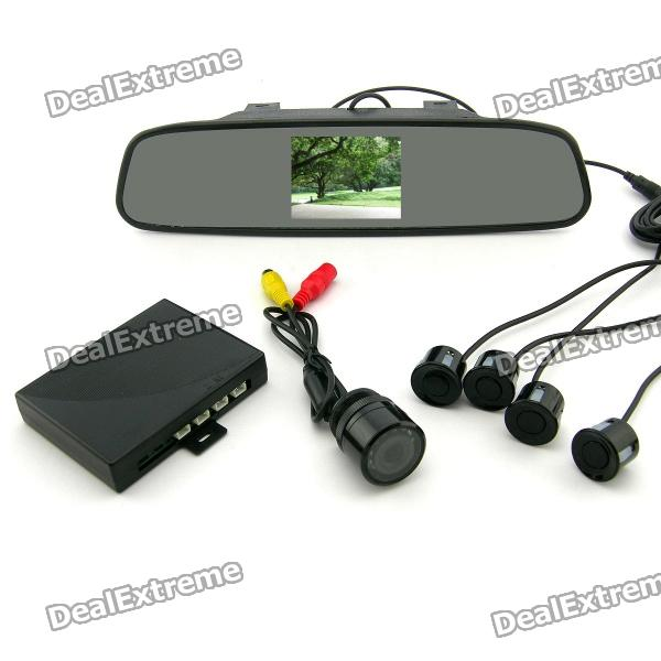 "3.5"" TFT Rearview Mirror & Camera + Parking Sensor / Radar Kit (12V)"