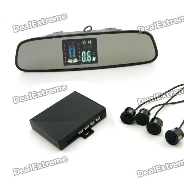 Digital VFD Rearview Mirror + 4-Channel Parking Sensors Radar Kits (12V) 100g bag l tryptophan food grade 99% usa imported l tryptophan