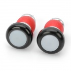 Bicycle Handlebar Bar End Red Light 2-Mode LED Warning Safety Light - Black (2 x CR2032 / Pair)
